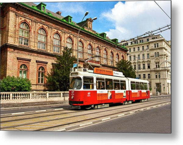 Cable Car Moving Down The Ringstrasse Metal Print