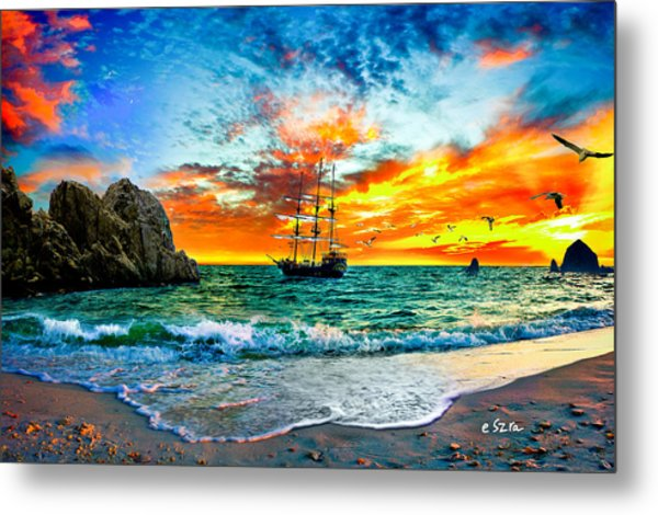 Cabo San Lucas-fantasy Pirate Ship-sailing Sunset Metal Print