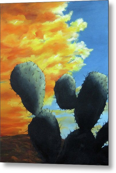 Cacti At Sunset Metal Print