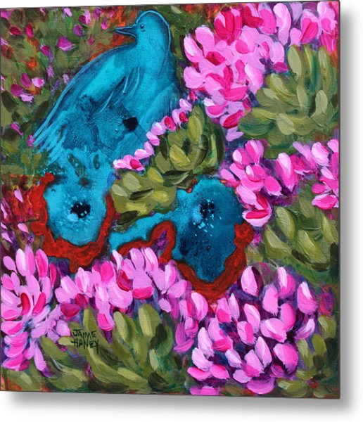 Cactus Flower Blue Bird Dream Metal Print