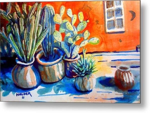 Cactus In Pots Metal Print