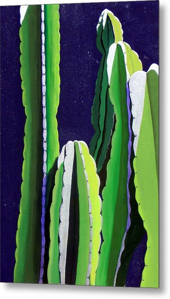 Cactus In The Desert Moonlight Metal Print