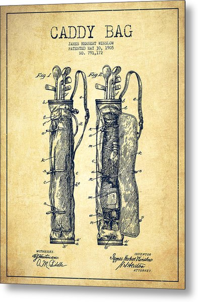 Caddy Bag Patent Drawing From 1905 - Vintage Metal Print