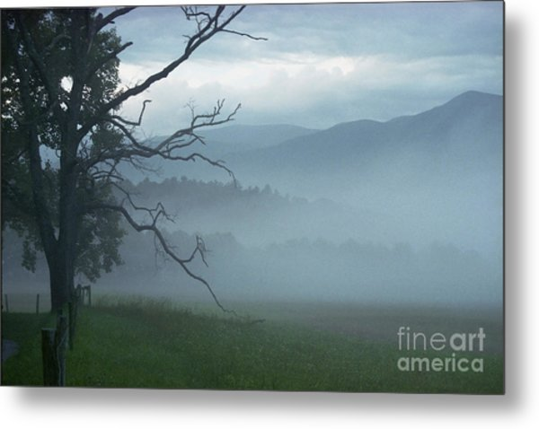Cades Cove Fog Sunrise Metal Print