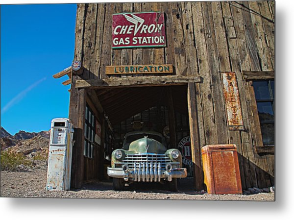 Metal Print featuring the photograph Cadillac In A Chevron Station 5 by James Sage