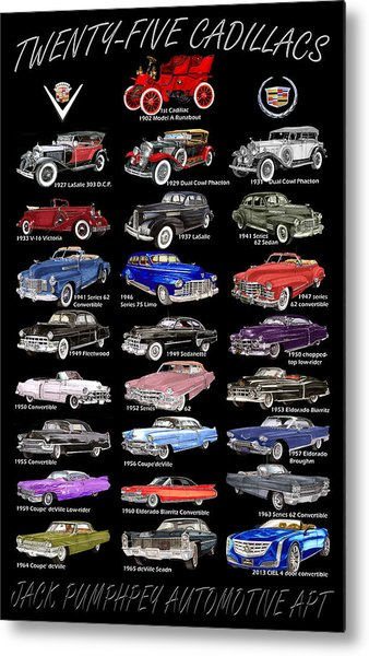 25 Cadillacs In A Poster  Metal Print