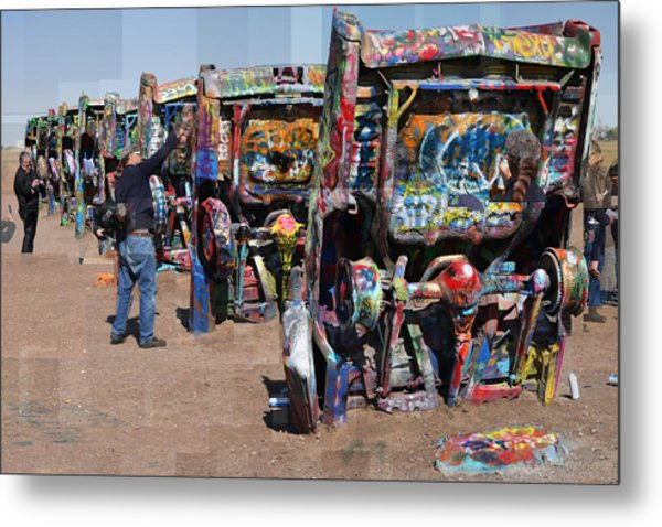 Cadillac Ranch Oblique Metal Print