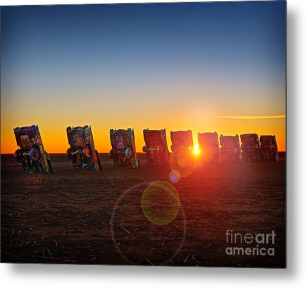 Cadillac Ranch Sunset Metal Print