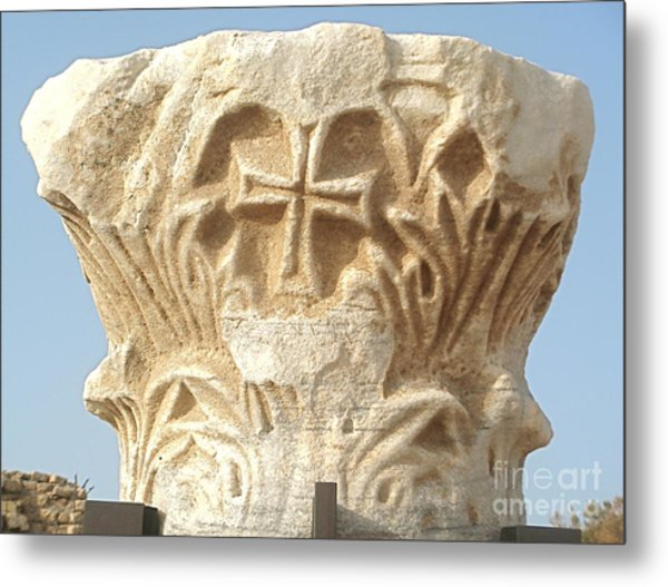 Caesarea Israel Ancient Roman Marble Carving  Metal Print by Robert Birkenes