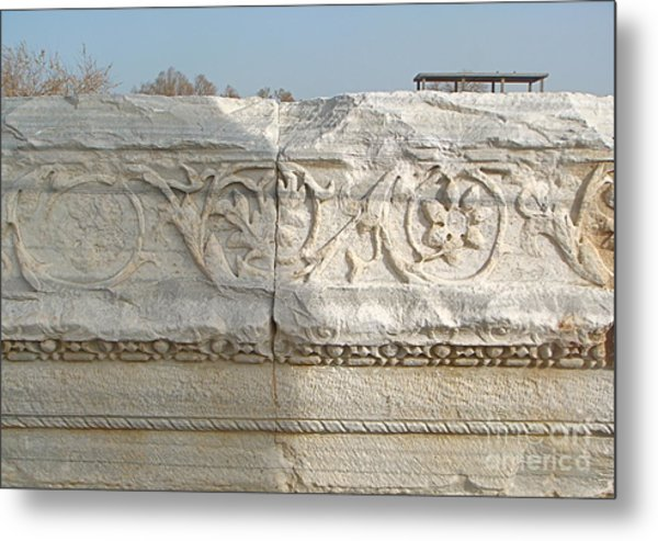 Caesarea Israel Ancient Roman Marble Detail Metal Print by Robert Birkenes