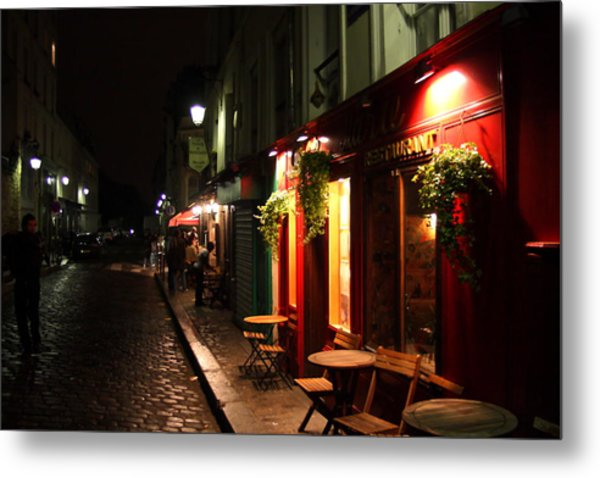 Cafe At Night Metal Print by Carrie Warlaumont