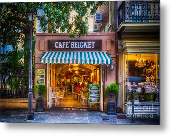Cafe Beignet Morning Nola Metal Print