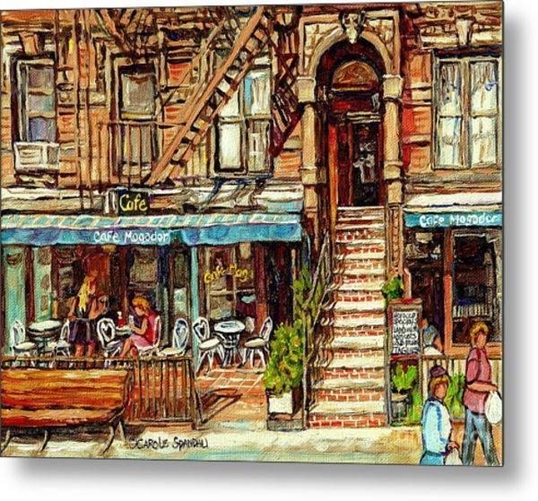 Cafe Mogador Moroccan Mediterranean Cuisine New York Paintings East Village Storefronts Street Scene Metal Print