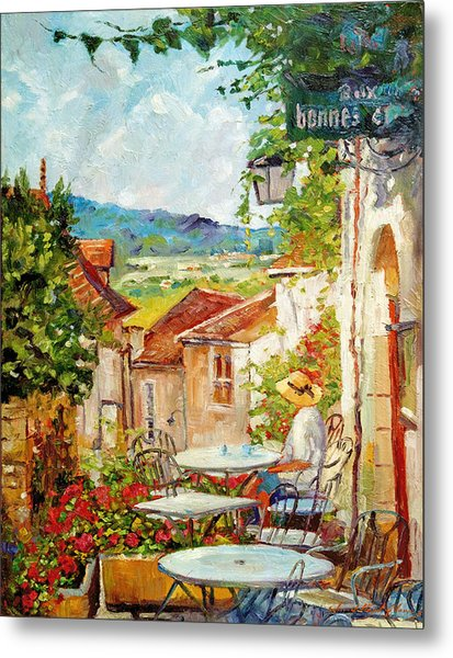 Cafe Provence Morning Metal Print