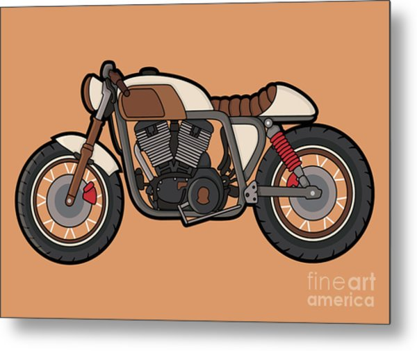 Cafe Race Motor Vector Metal Print
