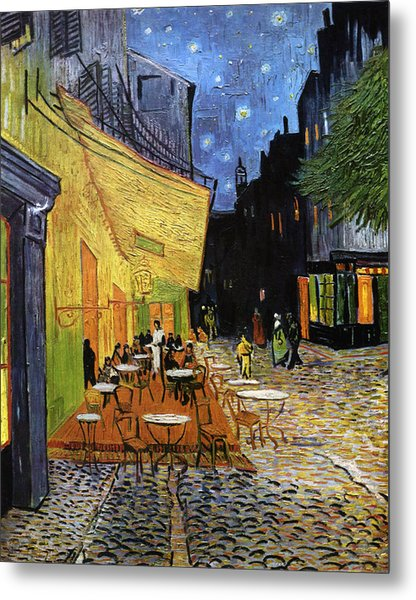 Cafe Terrace At Night Reproduction Art Work Metal Print