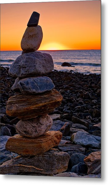 Cairn At Sunrise Rye Harbor Nh Metal Print