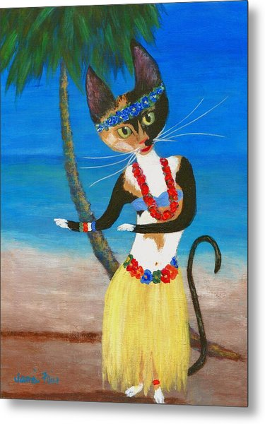 Calico Hula Queen Metal Print