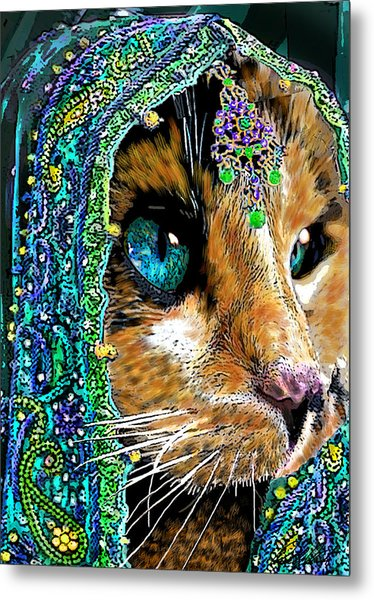 Calico Indian Bride Cats In Hats Metal Print