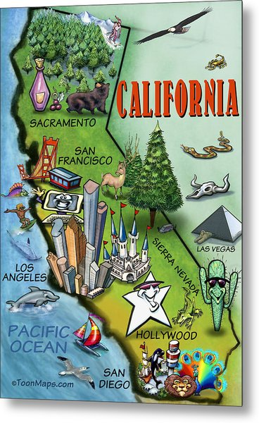 California Cartoon Map Metal Print