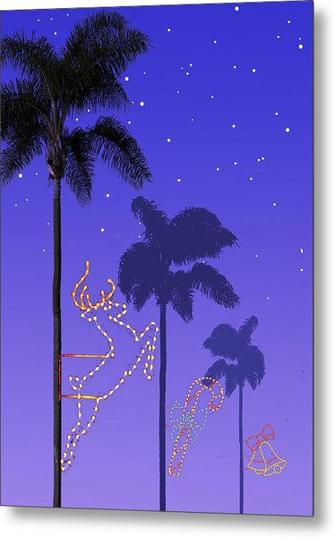 California Christmas Palm Trees Metal Print