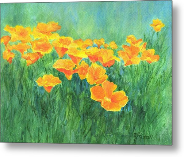 California Golden Poppies Field Bright Colorful Landscape Painting Flowers Floral K. Joann Russell Metal Print