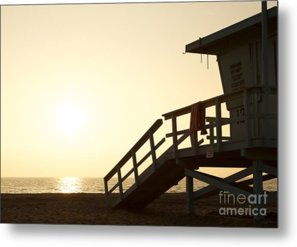 California Lifeguard Station At Sunset Metal Print