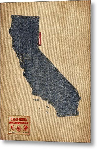 California Map Denim Jeans Style Metal Print