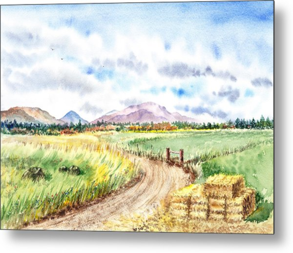 Californian Landscape Saint Johns Ranch Of Mountain Shasta County Metal Print