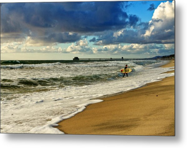 California's Stormy Surf  Metal Print by Donna Pagakis