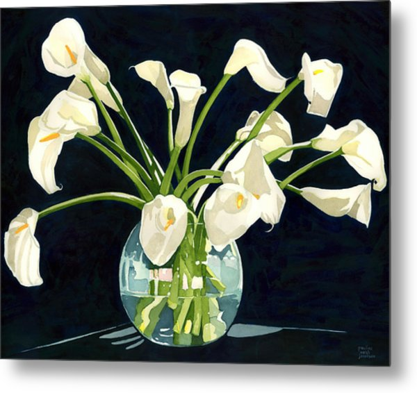 Calla Lilies In Vase Metal Print