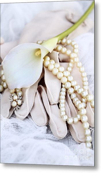 Calla Lily With Pearls Metal Print