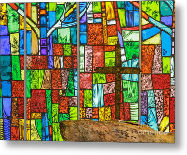 Callaway Gardens Chapel Alter Stone And Stained Glass Window Metal Print