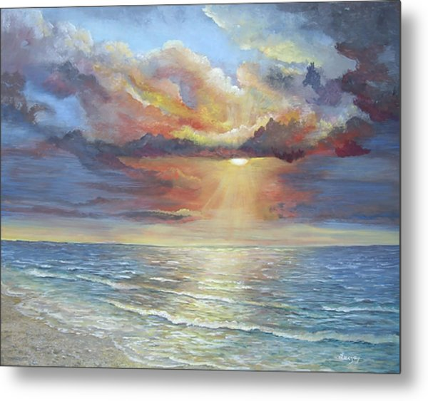 Metal Print featuring the painting Calm by Katalin Luczay
