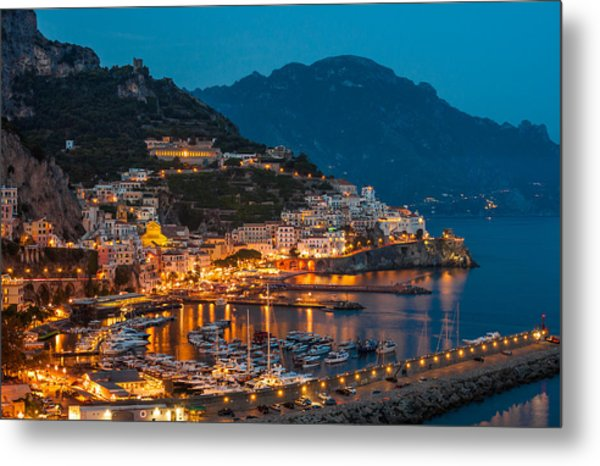 Calm Night Over Amalfi Coast Metal Print