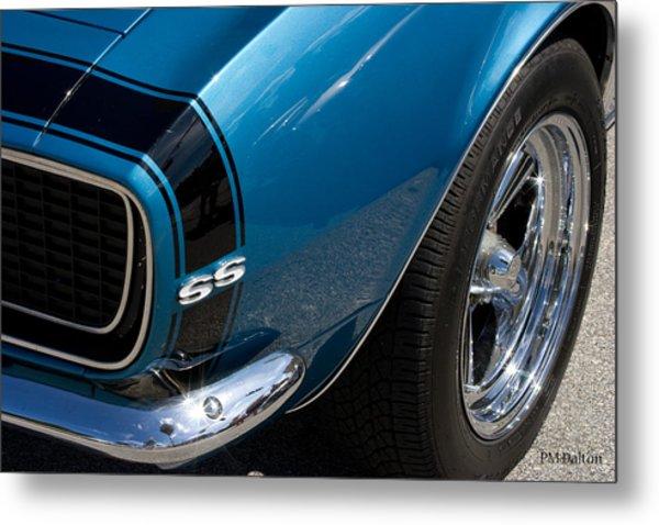 Camaro In Blue Metal Print by Paulette Moran Dalton