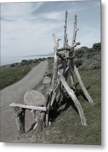 Cambria Driftwood Bench 2 Metal Print