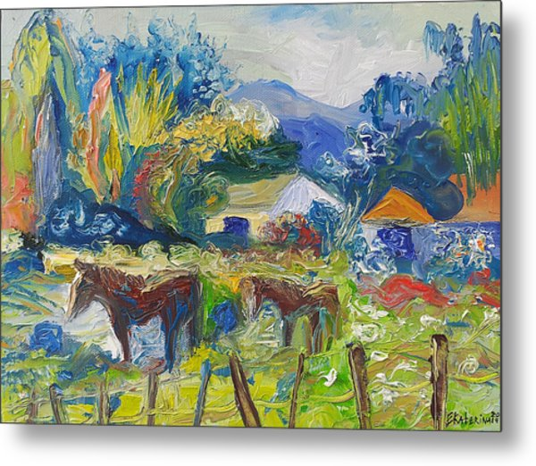 Cambridge Horses Original Artwork By Ekaterina Chernova Metal Print
