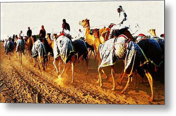 Camel Train Metal Print by Peter Waters