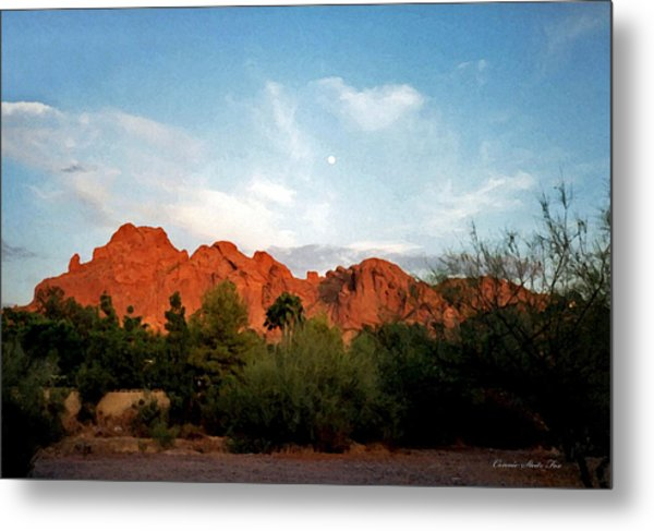 Camelback Mountain And Moon Metal Print
