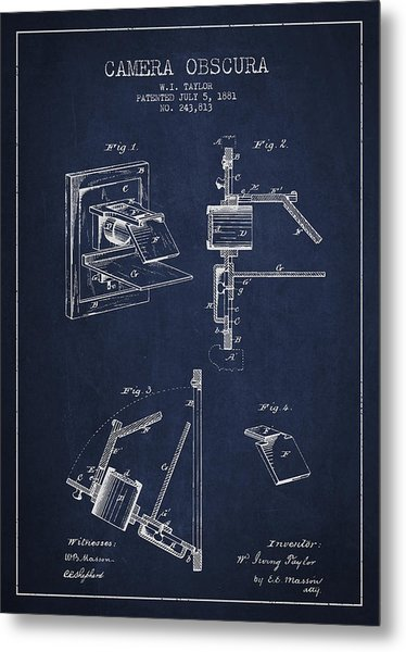 Camera Obscura Patent Drawing From 1881 Metal Print