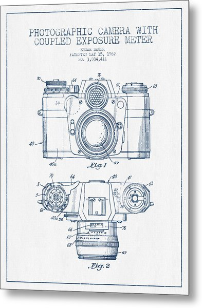 Camera Patent Drawing From 1962- Blue Ink Metal Print