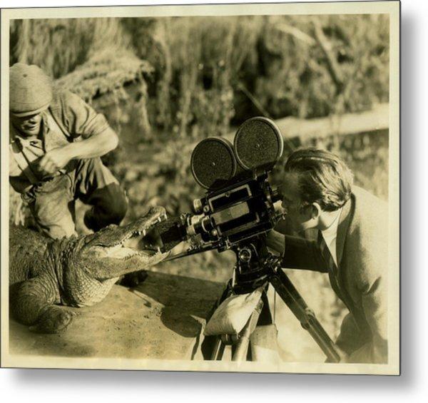 Cameraman With Alligator Metal Print by Vintage