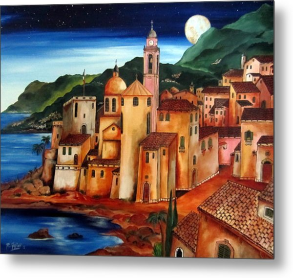 Camogli Under The Moon Metal Print