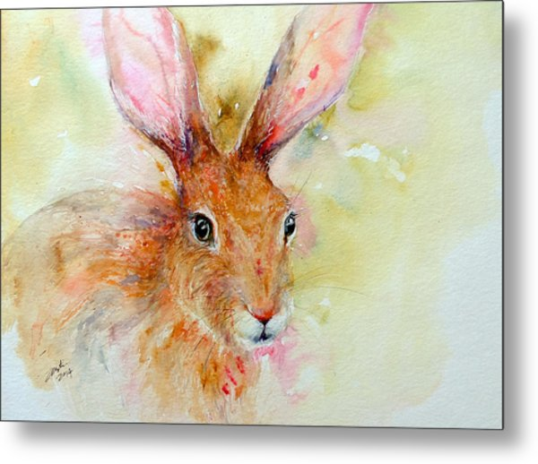 Camouflage Brown Hare Metal Print
