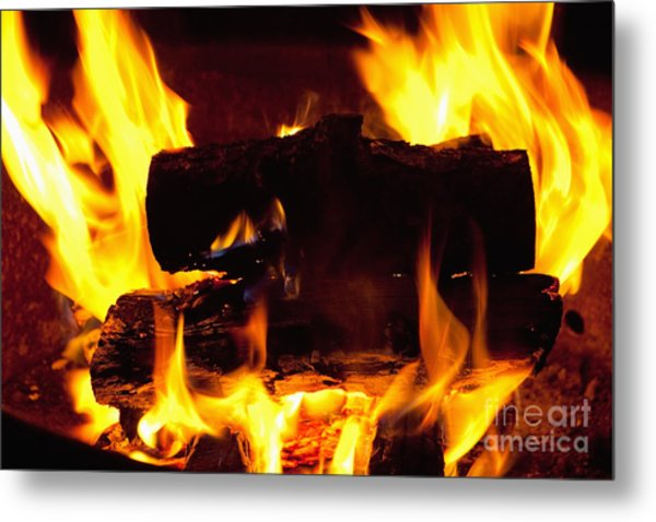 Campfire Burning Metal Print