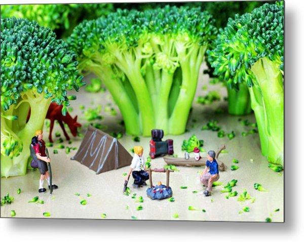 Camping Among Broccoli Jungles Miniature Art Metal Print