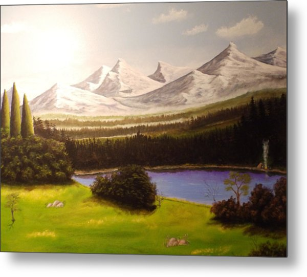 Camping By The Mountains. Metal Print