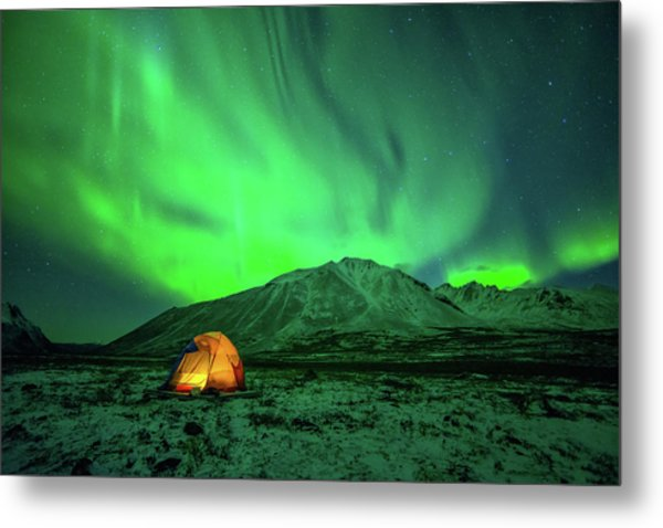 Camping Under Northern Lights Metal Print by Piriya Photography