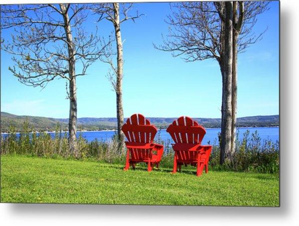 Canada, Nova Scotia, Adirondack Chairs Metal Print by Patrick J. Wall
